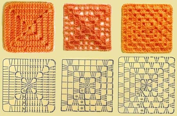 Схема для вязания квадратов